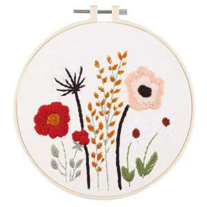 WODISON DIY Embroidery Kits for Adults Starter with Floral Pattern Including Embroidery Hoop, Color Threads Needle Kit