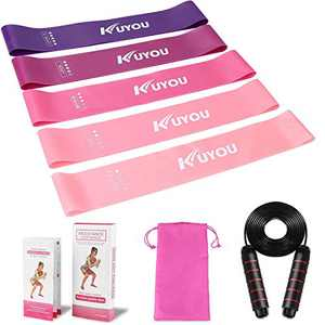 Resistance Loop Bands Set with Wire Rope Skipping 5Pcs Fitness Exercise Bands Workout Bands Set for Legs and Butt Yoga Pilates Stretching Strength Training Physical Therapy Rehab