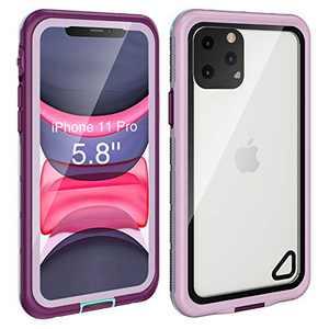 Fansteck iPhone 11 Pro Waterproof Case (5.8 inch), IP68 Underwater Full Body Protective Waterproof/Shockproof/Dirtproof/Snowproof, with Built-in Screen Protector for iPhone 11 Pro (Purple)