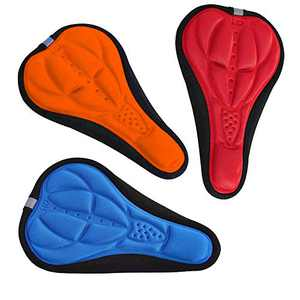 OUTFANDIA Comfortable Exercise Bike Seat Cover - Foam Padded Bicycle Saddle Cushion for Men and Women, Fits Spin, Stationary, Cruiser Bikes, Indoor Cycling, Soft