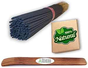 Bless-International 100%-Natural-Incense-Sticks Handmade-Hand-Dipped The-Best-Scent (Agarwood with Incense Holder, Pack of 75 Incense Sticks)