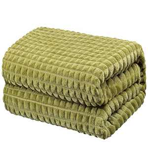 """Throw Blankets – 108""""x90"""", King Size, Olive Green - Lightweight Flannel Fleece - Soft, Cozy - Perfect for Bed, Sofa, Couch"""