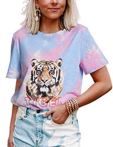Sofia's Choice Women Tie dye Graphic Tee Shirt for Women Teen Girls Short Sleeve Easy Tiger Casual Funny Cute T Shirt Top (A4-Blue Pink Tie dye, Medium)