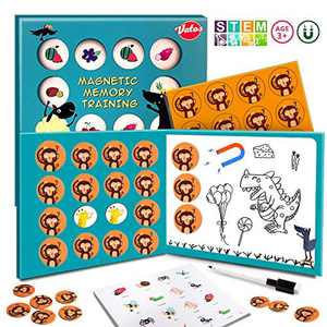 VATOS Magnetic Matching Game Memory Games for Kids 3 and up-16pcs Matching Cards Board Games Preschool Educational Toys for Boys & Girls Age 3 4 5 6 7 Gifts
