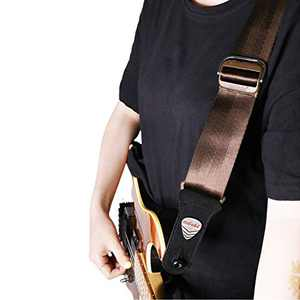 "Rapid Slide Guitar Strap with Quick Release FREE BONUS- 3 Picks + Strap Locks + Strap Button A Great Gift for Men Women Guitarist for Bass, Electric & Acoustic Guitars 2"" Wide (brown)"