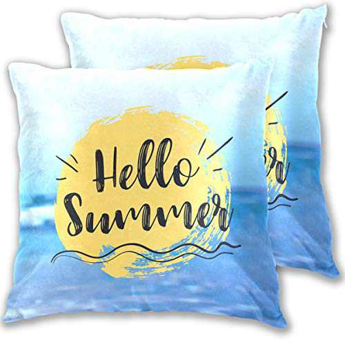 YUT Throw Pillow Covers Hidden Zipper Hello Summer Pack of 2 Velvet Living Room Decorative Soft Cotton Wool Square Pillowcase Bedroom Sofa Bed 16x16