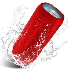 Waterproof Portable Bluetooth Speaker Pulsed Party Lights - Red