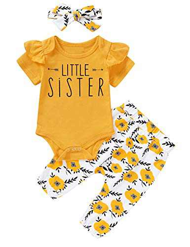 Aslaylme Baby Girls Matching Sister Outfits Little Sister Cute Floral Romper (Yellow-Short Sleeve,3-6 Months)