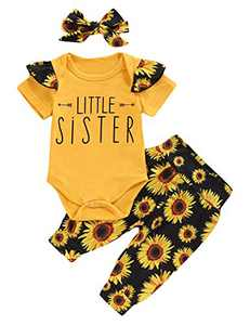 Aslaylme Matching Girls Outfits Little Sister Sunflower Bodysuit (Black,12-18 Months)