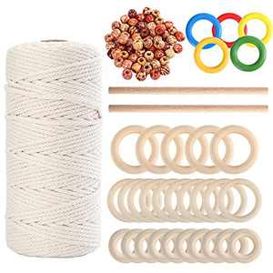 109 Yards 3mm Macrame Cord Cotton Rope with 100pcs Wood Beads 35pcs Wood Ring and 2pcs Wood Stick for Making Plant Hangers(139 Pieces Totally)