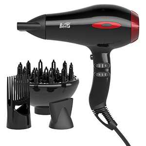 1875W Professional Hair Dryer Negative Ionic Blow Dryer 3 Minute Fast Dry with Diffuser Concentrators Styling Comb Black Red