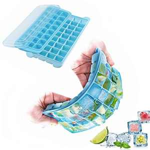 QUERLY Silicone Ice Cube Tray with lid Blue Ice Cube Mold Ice Pop Maker Easy to Release Ice Pop Maker (big &small)
