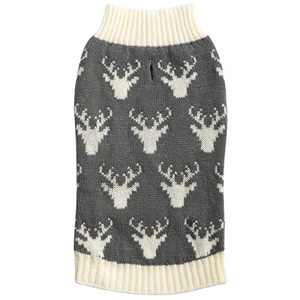 Hollypet Medium/Large Dog Cat Gray Deer Knitwear Sweater for Dogs and Cats Soft Fleece Coat Vest Warm Dogs Shirt Winter Cold Weather Pet Clothes