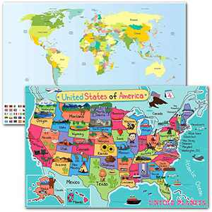 Map of the World with Flags and USA Map for Kids GLOW IN THE DARK Laminated Map, World Map Poster Wall Classroom Decor ● 16 x 24