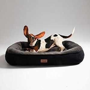 BEDSURE Plush Dog Bed Large - Machine Washable Pet Bolster Bed for Large Dogs Up to 31 KG, Black, 92x69x18cm