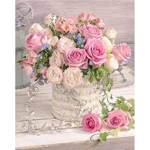 Zanbee 5D Diamond Painting by Number Kits for Adults, Rose Flowers Painting Paint with Diamonds Arts Full Drill Craft Home Decor 11.8x15.8in
