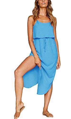 Yidarton Women's Summer Casual Dress Adjustable Strappy Split Floral Midi Beach Dress (C-Sky Blue Dress, Medium)