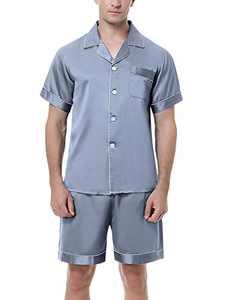 Irevial Men's Satin Pajamas Sets Shorts Sleeve Button-Down PJ Sets Sleepwear Loungewear Nightwear Grey