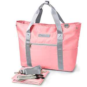 Large Baby Diaper Bag Tote, Satchel Diaper Messenger for Mom Organizer Multi-Function Travel Maternity Nappy Shoulder Bags with Stroller Straps, Changing Mat, Insulated Pockets Pink