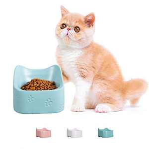 Jemirry Raised Cat Bowl Ceramic Cat Bowl Dish for Cats and Small Dogs Protect Pet's Spine Cute Cat Ear Design -Blue
