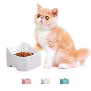 Jemirry Ceramic Cat Bowl Pet Food Bowls for Cats Bulldog Puppy Kitten Protect Pet's Spine Cute Cat Ear Design-White