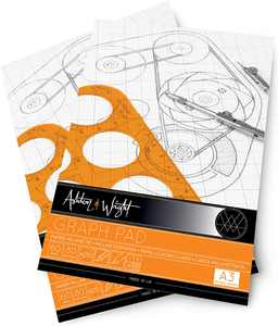 Ashton and Wright - A3 Grey - Grid Graph Pad - 80gsm Paper - 60 Sheets - Pack of 2