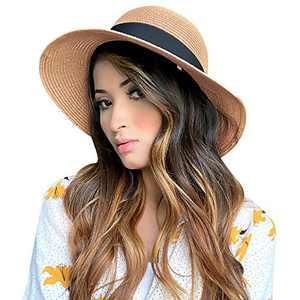 Womens Straw Sunhat Wide Brim Summer Classics Beach Visor Hat UV UPF50 Travel Foldable Summer UV Hat Brown