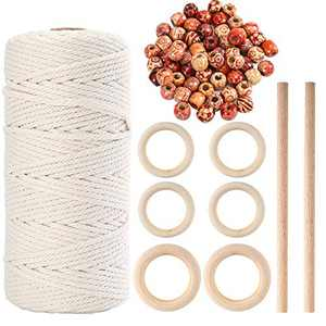 109 Yards 3mm Macrame Cord Cotton Rope with 50pcs Wood Beads 6pcs Wood Ring and 2pcs Wood Stick for Making Plant Hangers(60 Pieces Totally)
