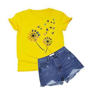 Colorful Dandelion Graphic T Shirts for Women Plus Size Summer Short Sleeve Crewneck Girls Tee Tops S-2XL (Yellow, X-Large)