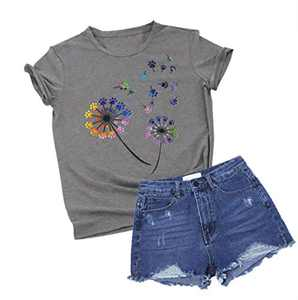 Colorful Dandelion Graphic T Shirts for Women Plus Size Summer Short Sleeve Crewneck Girls Tee Tops S-2XL (Grey, Medium)