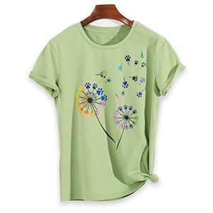 Colorful Dandelion Graphic T Shirts for Women Plus Size Summer Short Sleeve Crewneck Girls Tee Tops S-2XL (Green, XX-Large)
