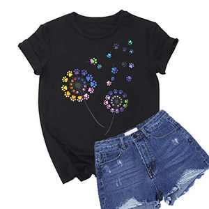 Colorful Dandelion Graphic T Shirts for Women Plus Size Summer Short Sleeve Crewneck Girls Tee Tops S-2XL (Black, Medium)