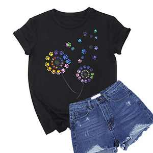 Colorful Dandelion Graphic T Shirts for Women Plus Size Summer Short Sleeve Crewneck Girls Tee Tops S-2XL (Black, X-Large)