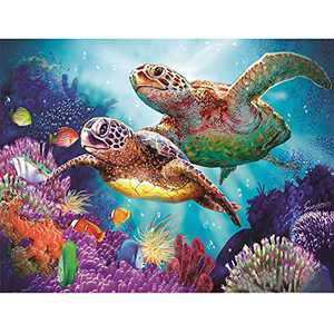 "WISREMT DIY Diamond Painting Kit Full Drill Embroidery Cross Stitch Arts Craft Canvas Wall Home Decor Craft for Adults or Kids 30x40CM (Two Turtle, 11.8"" x 15.7"")"