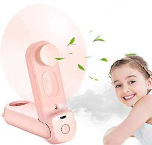 Portable Handheld Misting Fan Small Personal Desk Fan USB Rechargeable for Home Office Outdoor by Alpharan(Pink)