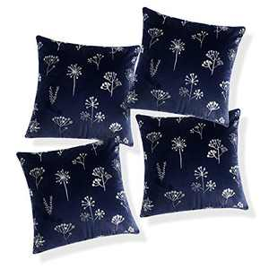 Deconovo Dark Blue Cushion Cover for Living Room Pack of 4 Faux Velvet Square Pillow Case with Silver Floral Pattern for Sofa Case Only No Pillow Insert 24x24 Inch Dark Blue