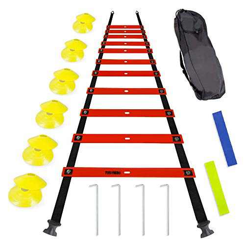 TOCO FREIDO Agility Ladder 20FT and Cones 12 Pack Adjustable Rungs Fitness Speed Training Equipment, Speed Agility Training Set 15 Rungs 1 Carry Bags, 10 Cones, 4 Stakes, Basketball, Soccer, Football