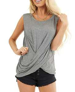 AMCLOS Womens Twist Front Tops Sleeveless Tunic Summer Casual Soft T-Shirts Scoop Cutout Back Blouses(Light Gray,2XL)