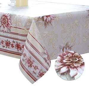 DITAO Ramadan Decorations Tablecloth, Rectangle Floral Table Cloth, Waterproof Wipeable Table Cover for Spring Summer Party