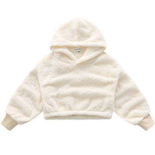 Girl Winter Fall Coat Sherpa Hoodie Warm Pullover Long Sleeve Fleece Sweatshirt Ivory 6 7