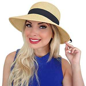 Sowift Sun Hats for Women, Wide Brim Beach Hats with UV UPF 50+ Protection Floppy Straw Cap for Women Khaki