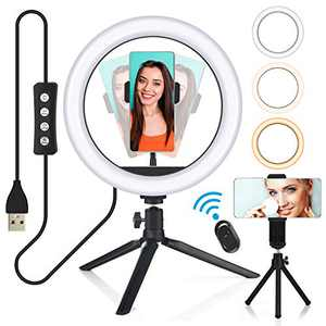 10 Inch Ring Light, Selfie LED Ring Light with Tripod Stand, Phone Holder & Remote Control, Dimmable Desk Makeup Light for Live Streaming, Video Making, Photography, 3 Light Modes & 10 Brightness