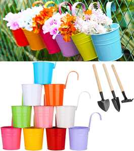 Zodight 10 Pack Metal Iron Hanging Flower Pots, Colored Plant Pots Fence Planter, Vase Hanging Bucket with Drainage Hole Perfect for Balcony Garden Fence Home Decor Ornaments