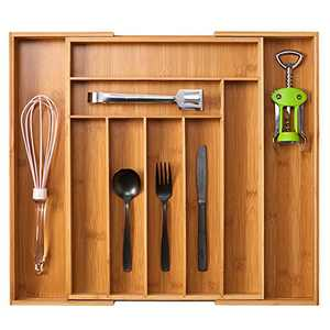 EZOWare Expandable Kitchen Drawer Organizer, Large Utensil Holder Silverware Cutlery Tray Caddy for Kitchen Drawer, Countertop, Bathroom Organizing - Bamboo Wood, 9 Compartment