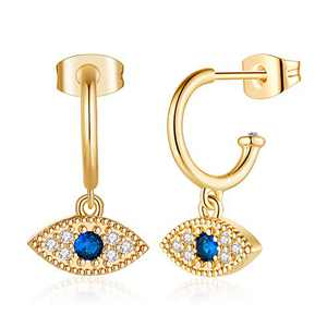 Dainty Evil Eye Earrings for Women, S925 Sterling Silver Post Hypoallergenic 14K Gold Plated Small Evil Eye Dangle Hoop Earrings Small Open Hoop Earrings Evil Eye Jewelry for Girls Sensitive Ears
