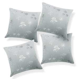 Deconovo Grey Throw Pillow Cover Soft Velvet Design Decorative Cushion Cover Silver Flower Print Pattern for Bedroom Case Only No Pillow Insert 24x24 Inch Grey Set of 4