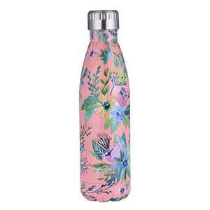 GiNT Stainless Steel Vacuum Insulated Double Walled Water Bottle for Outdoor Sports, Cola Shape,Travel Mug, 17oz / 500ML Powder Flower