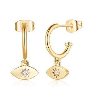 Dainty Evil Eye Earrings for Women, S925 Sterling Silver Post Hypoallergenic 14K Gold Plated Girls Small Evil Eye Dangle Earrings Saftey Open Hoop Earrings for Girls Sensitive Ears