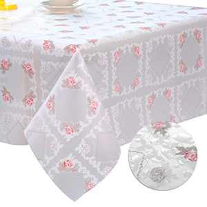 DITAO Plastic Floral Tablecloth Square Waterproof Wipeable Table Cover for Spring Picnic Party, 60 x 60 inch