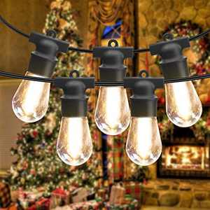 2 Pack 48FT Outdoor String Lights, Patio String Lighting LED String Lights Commercial Hanging Lights String S14 Bulbs with 4 Spare 2700K Outdoor Lights String Decorative Patio Porch Garden Christmas